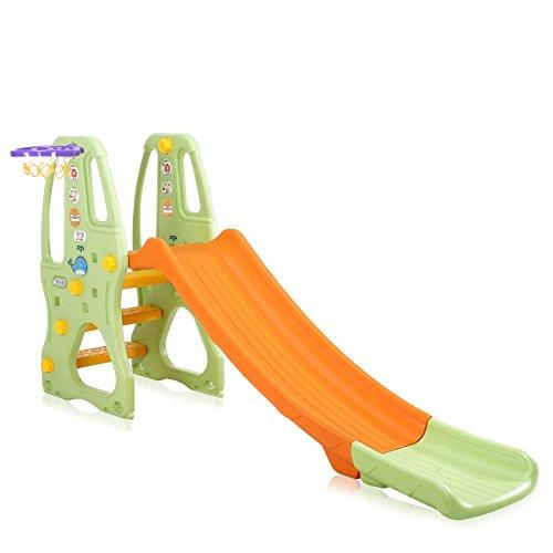 Baby Vivo Scivolo per Bambini Bimbi Giardino Esterni Interno Parco da Plastica Struttura per Arrampicarsi con scivolo in Arancio/Verde