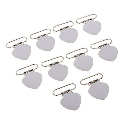 F Fityle 10Pcs Heart Love Metal Suspender Mitten Clips para Correas de Cinturón Broche de 25 Mm - Plata, Individual