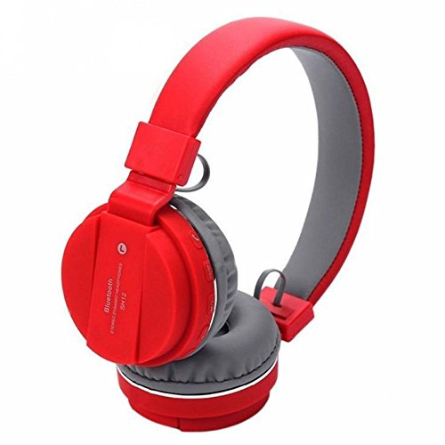 Generic SH-12 Wireless Universal Bluetooth Headphone Headset with FM and SD Card Slot for Music and Calling Control (Red)