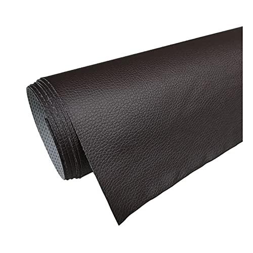 Tela de Cuero PVC Patrón de Litchi Cuero Sintético para Reparación de Sofás Costura Elaboración de Proyectos de Bricolaje - (1 Pieza = 100Cm X160cm) - Café Negro,1.6x5m