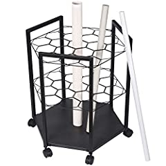 Sturdy hexagon design with 19 slots Holds blueprint rolls up to 4 inches in diameter Solid metal base holds up to 120 lbs 6 locking swivel wheels Size: 25 inches tall x 25 inches wide