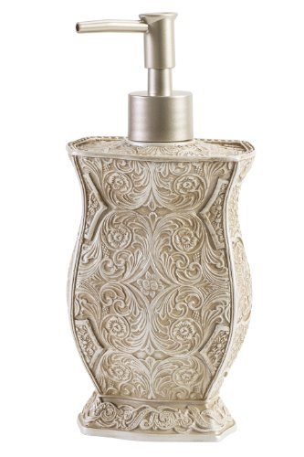 Creative Scents Victoria Hand Soap Dispenser, Countertop Decorative Lotion Pump, Sink Shower Dispensers, for Elegant Bathroom Decor, Beige