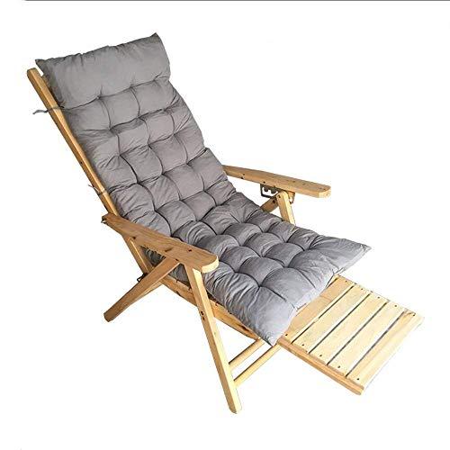 YZjk Schaukelstuhl Massivholzliege, Klappstuhl für ältere Menschen mit verlängertem Fußschemel und Holzarmlehne Sonnenliegestuhl im Freien, in 5 Positionen verstellbar (Farbe: Stuhl + Matte)