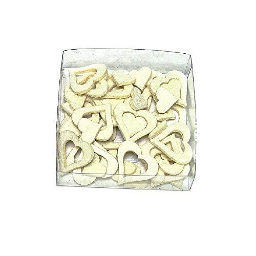 Feutre de cœur sortimen 48 St. assortis 2 tailles/Top prix., creme (vanille), 3,5cm und 2cm / dick 3mm