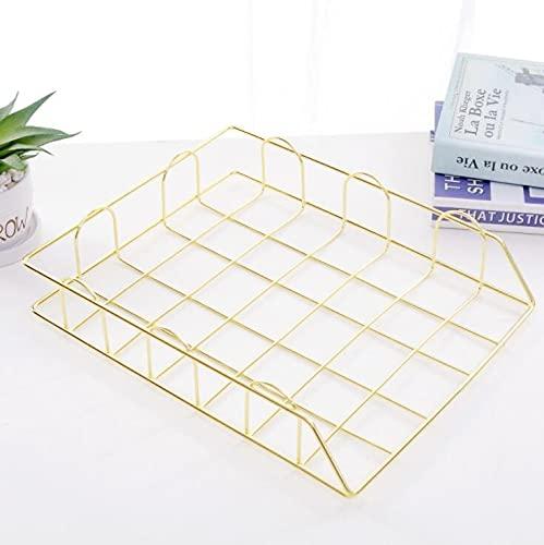 PPuujia Estante apilable de metal dorado para archivos, bandeja de archivos, bandeja de hierro, cesta de almacenamiento de escritorio (color: dorado 1 capa)