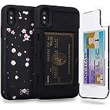 TORU CX PRO iPhone XS ケース カード 紫の収納背面 3枚 カード入れ カバ― ミラー付き (アイフォンXS/アイフォンX 用) - さくらの花