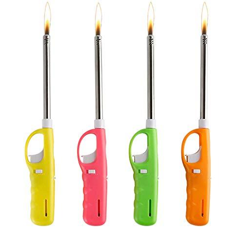 Ugetde - Confezione da 4 accendini a gas ricaricabili, in plastica, multicolore, 26 cm, elettrici, flessibili, da cucina