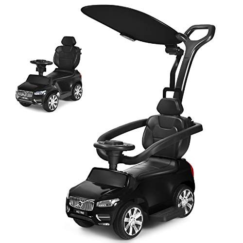 Costzon 3 in 1 Ride on Push Car, Licensed Volvo Ride on Toy for Kids, Toddler Stroller w/Sun Canopy, Safety Bar, Parental Handle, Horn, Music, Sliding Walking Car Gift for Boys & Girls, Black