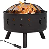 """Outdoor Fire Pit Set - 24"""" Inch Large Bonfire Wood Burning Patio Firepit Bowl & Backyard Firepit for Outside with Spark Screen, Poker, and Round Fireplace Cover, for Camping Picnic Bonfire Backyard"""