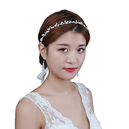 TOPQUEEN Accessoires braut Gold Perle Strass Braut Haarkamm Hochzeit Haarschmuck Tiara Diadem, Schmetterlinge (HP03-Silver-Organza-Weiß)