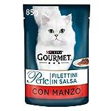 Purina Gourmet Perle Umido Gatto Filettini in Salsa con Manzo, 24 Buste da 85 g Ciascuna, Confezione da 24 x 85 g