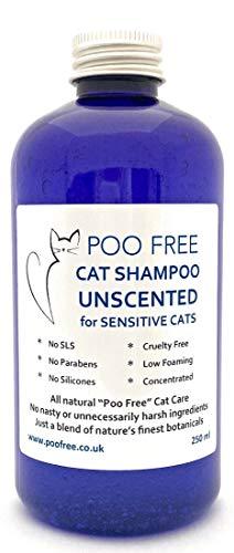 POO FREE Naturale - Shampoo per Gatti SENSIBILI- Senza Profumo - 250ml Senza Solfati, Parabeni, Silicone. Concentrato, Pulisce, Calma, Idrata, Allevia Il Prurito. PH Equilibrato per Gatti.