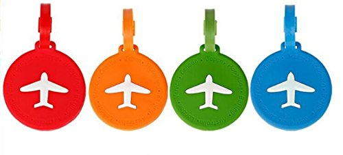 NOVAGO Lot de 4 Étiquettes à bagages/Étiquettes à valise AVION (Rond)