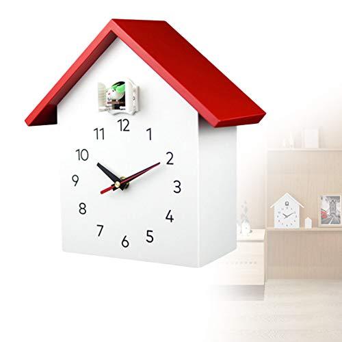 NANANA Reloj Cuco Minimalista con Un Diseño Moderno con Aves Sonidos Grabación Natural, Pequeño Reloj Cucu Design Moderno, Pájaros Cantores, Grabaciónes Naturales[27X25.5X12cm],Rojo