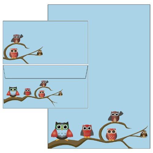Briefpapier-Mappe Eulen blau Set 45-teilig Briefpapier + Briefumschläge + Schreibblock + Postkarten