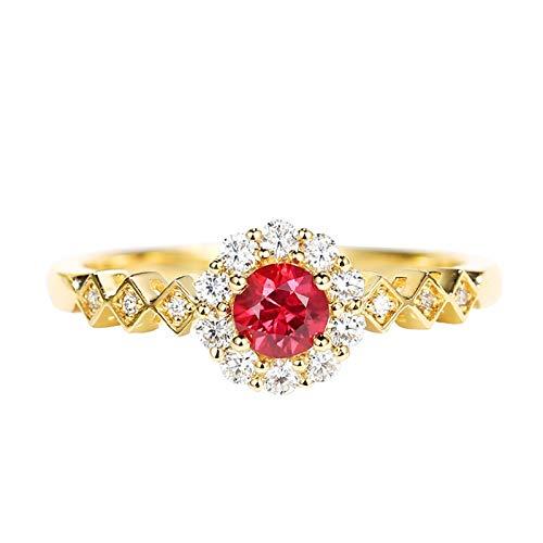 Socoz Mujer Unisex oro amarillo 18 quilates (750) redonda Red Ruby