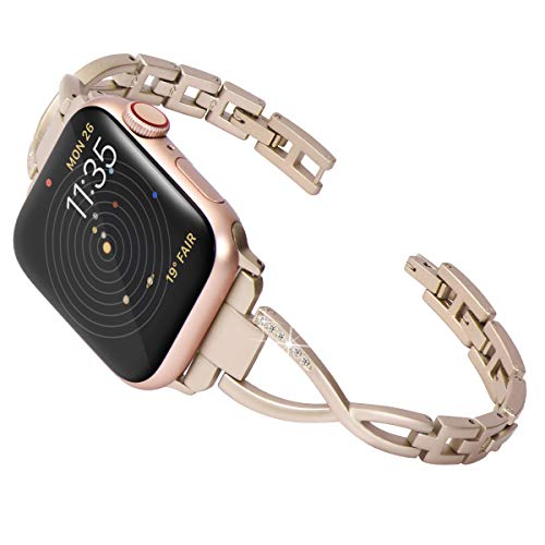 Surace Stainless Steel Band Compatible for Apple Watch Band 42mm 44mm Women Link Strap Replacement for Apple Watch Band 44mm Series 4 Series 5, Champagne Gold