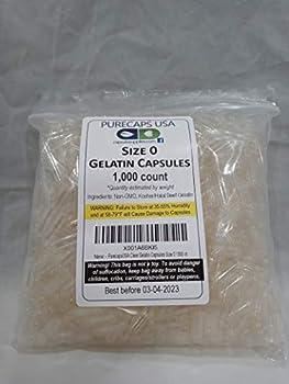 1000 Empty Gelatin Capsules Size 0  Kosher/Halal  Gel Caps by PurecapsUSA