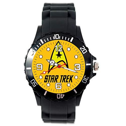 TAPORT® Unisex Uhr Analog Quarzwerk mit Silikon Armband Star Trek Rund Schwarz