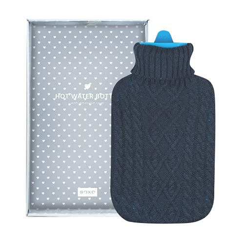 soxo Borsa dell'acqua calda 1,8 L | Riscalda e Rilassa | bottiglia di acqua calda per le serate autunnali e invernali | Custodia di Pelliccia Calda e Morbida | Regalo Bambini e Adulti