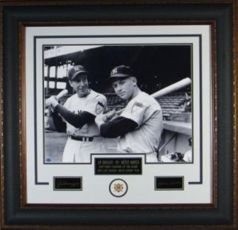 Joe DiMaggio NY Yankees Engraved Signature Series 16x20 Photo Premium Leather Framing w Mickey Mantle