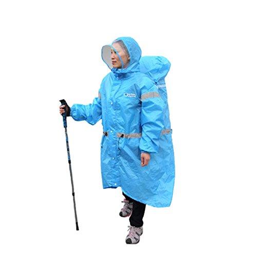 Brilliant firm Polyester Unisexe Une Pièce Imperméable Camping en Plein Air Sac à Dos Imperméable Pluie Pluie Pluie De Pêche Imperméable (Color : Blue, Size : XL)