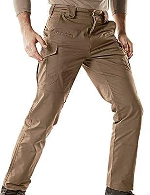 CQR Men's Flex Stretch Tactical Pants, Water Repellent Ripstop Cargo Pants, Lightweight EDC Outdoor Hiking Work Pants, Flexy Cargo(tfp513) - Coyote, 32W x 32L