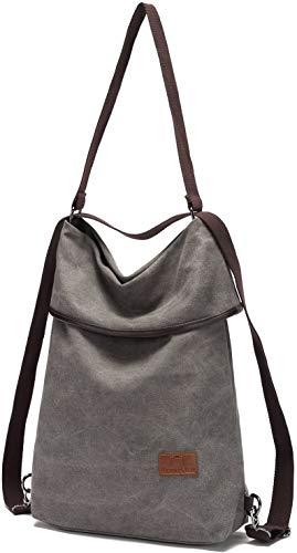 Damen Multifunktions-Schultertasche Canvas Crossbody Casual Daypack Handtasche für Arbeit und Alltag, grau, Einheitsgröße