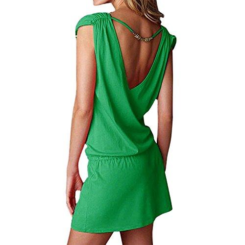 Tunica Playa Mujer Bohemio Vestidos Sin Mangas Casual Tallas Grandes Etnico Hippie Vestido Corto Tirantes Escote V Espalda Descubierta Verano Pareo Caftan Ropa de Baño Bikini Cover Up Mini Dress