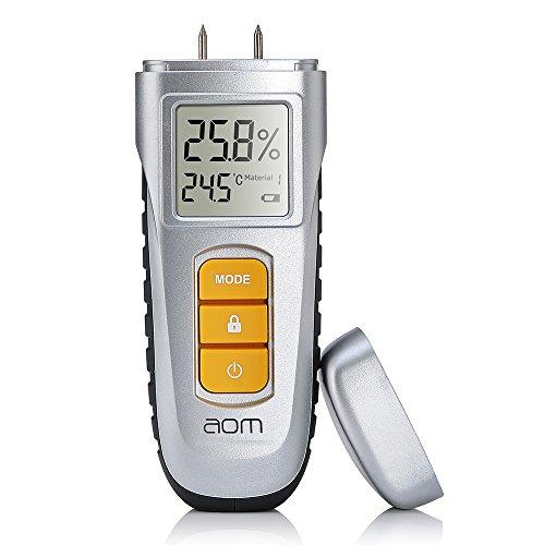 Feuchtigkeitsmessgerät Wand Digital LCD Holzfeuchtigkeitsmessgerät mit 2 Pins Sensor,6 Feuchtigkeitsmesser Auswahl für Holz Baustoffe Brennholz Pflanze (SR00)