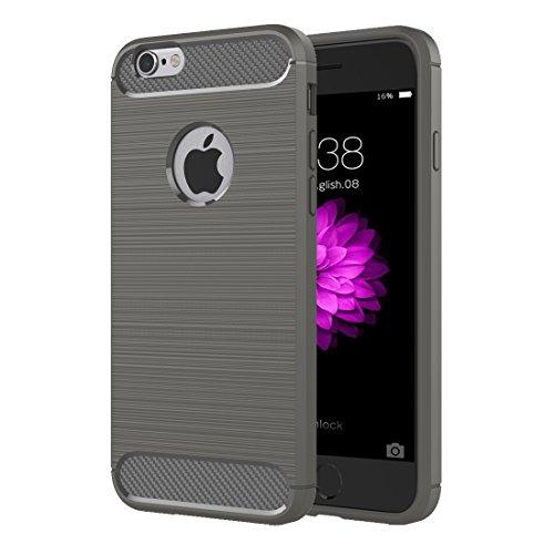 Wakaha Teléfono for el iPhone 6 Cepillado Textura de la Fibra de TPU Resistente Armadura de la Cubierta Protectora de teléfono Plus y Plus 6s (Color : Grey)