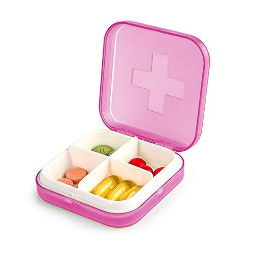 Mini Pill Case, 4-in-1 Pill Organizer, Portable Pill Box for Pills/Vitamin/Fish Oil/Supplements/Healthcare Product (Pink)