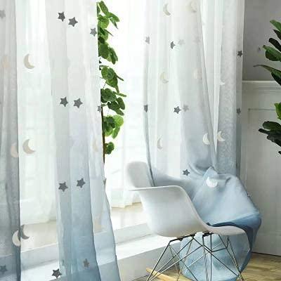 Tende per camera da letto trasparenti in poliestere, Pannelli con occhielli, per sala da pranzo, cucina, soggiorno, camera da letto, con ricami stelle e lune, tende per bambini (200x270Cm)