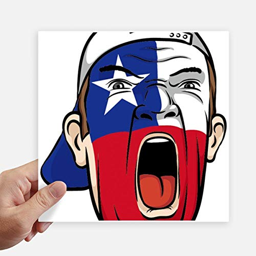 DIYthinker Bandera de Chile Máscara Facial del Maquillaje Screaming Cap Square Stickers 20cm Pared Maleta portátil Motobike Decal 4 Piezas 20cm x 20cm