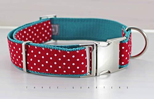 Hundehalsband in rot mit weißen Punkten, Gurtband in türkis
