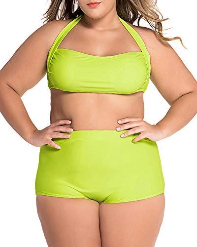 LALAGEN Women's High Waist Halter Bandeau 2 Piece Plus Size Bikini Swimsuit neon Yellow XXXXL