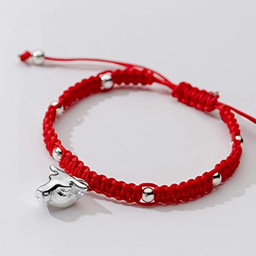 Pulsera de la riqueza Feng Shui Lucky Charm Bracelet 2021 Año del OXT S922 ST925 Lucky Bull Head Beads Silver Beads Red Cuerda trenzada Pulsera Zodiac Pulsera Ajustable Amuleto Atraer Riqueza Puede tr