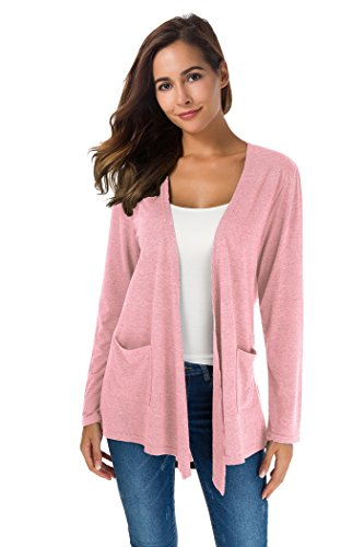 XINAO Women's Open Front Casual Comfy Flowy Long Line Modal Cardigan (M, Pink)