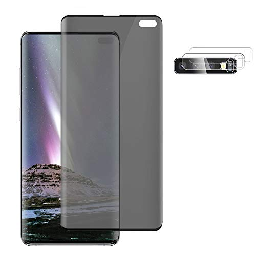 """[1+2] Galaxy S10 Plus Privacy Tempered Glass Screen Protector + Camera Lens Film [9H Hardness] [3D Full Coverage] [Anti-Spy] [Anti-Blue Light] [Anti-Fingerprints] for Samsung Galaxy S10+(6.4"""")"""