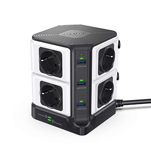 BESTEK Multipresa Ciabatta Elettrica con 8 Prese Schuko e 6 Porte USB, Multipresa Elettrica Verticale con Interruttori Indipendenti(1500J Surge Protezione, 3600W 16A, 3m Cavo)-Nero