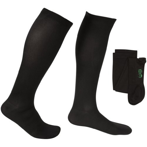 EvoNation Men's USA Made Graduated Compression Socks 20-30 mmHg Firm Pressure Medical Quality Knee High Orthopedic Support Stockings Hose - Best Comfort Fit, Circulation, Travel (XL, Black)