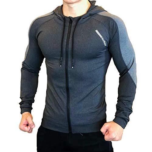 CXB Sports Man Slim Fit Zip Up Gym Hoodies T Shirts Running Sweatshirt (Medium, Gray)