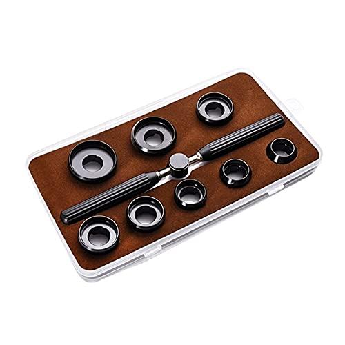 XIAOFANG 9 PCS Watch Tools Kits 5537 Reloj Back Case Funda Funda Abre Archivo Set Llave + 8 Dies Parte Watch Repair Accesorios (Color : Black)