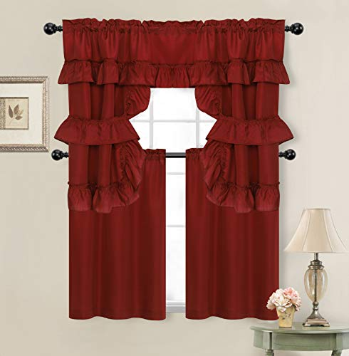 GoodGram Country Farmhouse Living Solid Colored Cafe Kitchen Curtain Tier & Swag Valance Set - Assorted Colors (Country Burgundy)