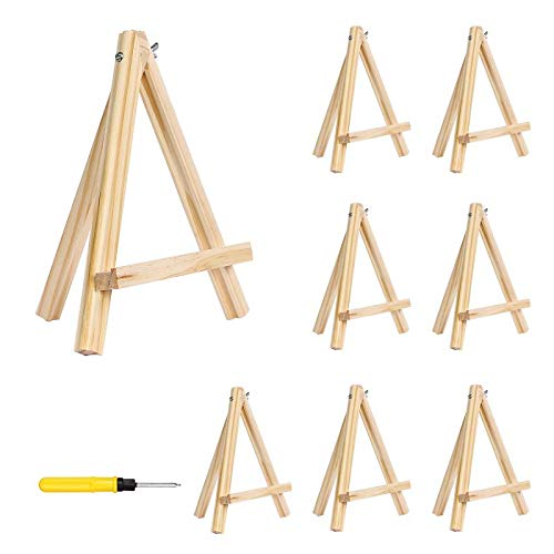 Tripod Easel Stand, 8 Pack Portable Natural Pine Wood Photo Painting Easel Display for Kids Students Artist Painting, Sketching, Displaying Photos (9 Inch Tall)