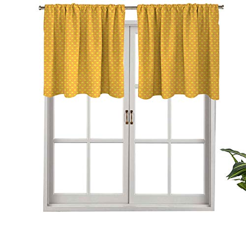 Hiiiman Short Blackout Curtain Valance Rod Pocket Vintage Retro 50s 60s Image with Polka Dots Pattern, Set of 2, 42'x24' Kitchen Curtains for Living Room