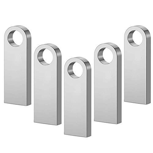 64GB Mini Memorias USB 5 Piezas PenDrives - 64 GB Portátil Unidad Flash USB 2.0 Flash Drive Memoria Stick para Computadoras, Tabletas y Otros Dispositivos (Plata)