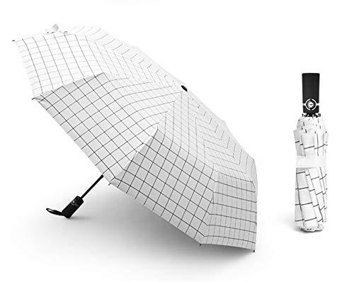 KCCCC Folding Umbrella Compact Men And Women Travel Sun Umbrella Automatic Umbrella Windproof Rainproof Anti-UV Portable Travel Umbrella (Color : White)