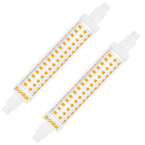 Bonlux 15 W LED-Leuchtmittel R7S, 118 mm, linear, kaltweiß, 6000 K, nicht dimmbar, J118 Slim Doppeleffekt entspricht 125 W 120 W Halogenlampe, linear, AC 220 – 240 V, 1300 lm, 360 Grad 2)