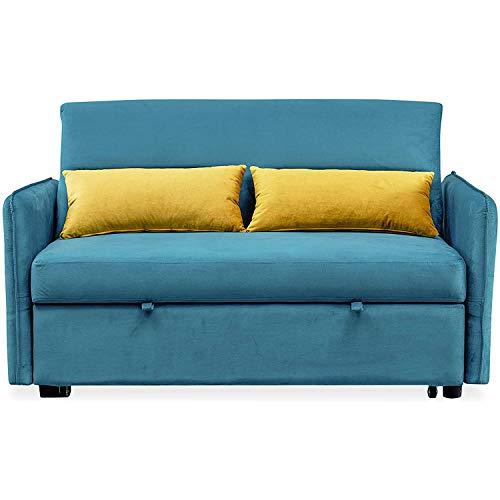 AMYMGLL Sofá Cama, sofá de Terciopelo pequeño para Sala de Estar o Dormitorio, Que Incluye Cama de extracción y 2 Almohadas lumbares, sofáfes, compactas,Azul